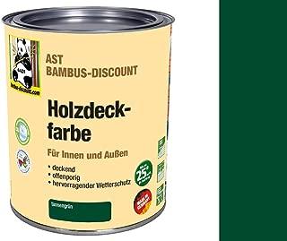Holzdeckfarbe tannengrün 0,75 Liter für Innen und Außen - deckend, offenporig, hervorragender Wetterschutz - Bambusrohre lackieren
