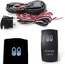 iJDMTOY 2-Output Universal Relay Wiring Harness with Reverse Light Blue LED Light ON/OFF Rocker Switch, Good For Off-Road LED Light Bar, LED Pod Lights, Aftermarket Fog Lights, Driving Lights, etc