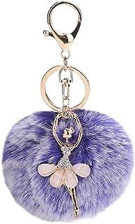 Quaan Woman Cute Angel Hair Ball Pendant Rhinestones Hair Ball Keychain Keychain Alloy Rhinestone Key Chain Backpack Pockets Pendant Car Accessories