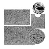Bathroom Rugs Gray Bath Mats with Big Size Toilet Cover, Ultra Soft Non-Slip and Absorbent 4 Piece Bathroom Rug Set for Tub, Shower, Bathroom