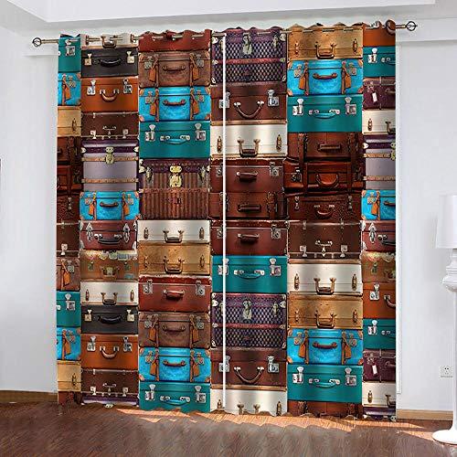 MXYHDZ Cortinas Dormitorio Opacas - Impresión de maleta de cuero vintage Cortinas Salón para Habitación Opacas con Aislamiento Térmico- 140 x 160 cm para Oficina, Dormitorio habitación de los niños, 2