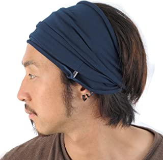 CHARM Mens Japanese Infinity Headband - Womens Cotton Headwrap Elastic Hair Band Neck Gaiter