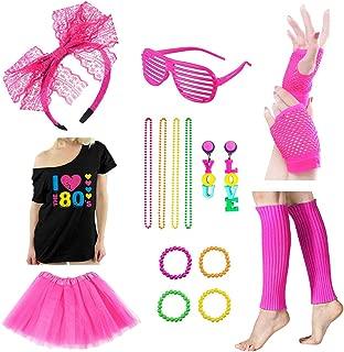 18PCS 80s Accessories for Women 80s T-Shirt Headband Necklace Earrings Bracelet Gloves Leg Warmers Shutter Glasses Tutu Skirt