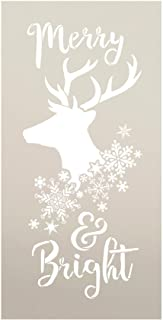 "Merry & Bright - Reindeer and Snowflake - Word Art Stencil - STCL2026 - by StudioR12 (7"" x 14\"")"