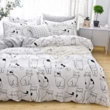 LAYENJOY Cats Duvet Cover Set Queen, 100% Cotton Bedding, Various Cartoon Cats Pattern Printed on White Reversible Black Plaid, 1 Comforter Cover Full and 2 Pillowcases for Kids Teens Boys Girls