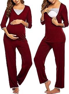 Maternity Nursing Pajama Set V-Neck 3/4 Sleeve Pregnancy Tops Pants Breastfeeding Sleepwear Set