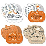 Happy Thanksgiving Gamerific Bundle INCLUDES 4 fall harvest games with 10 game cards per each game. THANKSGIVING GAMES: Guests will have fun playing 4 different fall harvest games: What's Your Turkey Name, Photo Scavenger Hunt, This or That, Thankful...