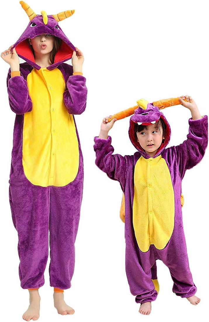 DEBAIJIA Pijama Animal para Ni/ños Ni/ñas Disfrace Franela Traje del Anime Invierno Calentito Pyjamas Navidad Onsie
