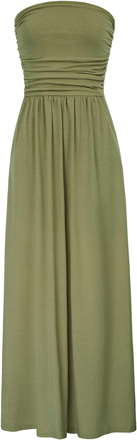GRACE KARIN Womens Strapless Ruched Casual Maxi Dress with Pockets CLAF0224
