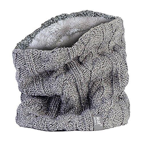 Damen Thermo-Halswärmer aus Fleece, Zopfmuster, in originellen und brandneuen Boden-Designs Gr. One size, Original L.Grey Halswärmer