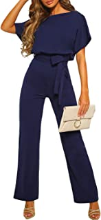 Womens Casual Short Sleeve Belted Jumpsuit Long Pants...