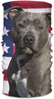 Pitbull American Flag Dog Outdoor Windproof Dust-Proof Face Cover Bandana Balaclava, Variety Head Scarf Headband