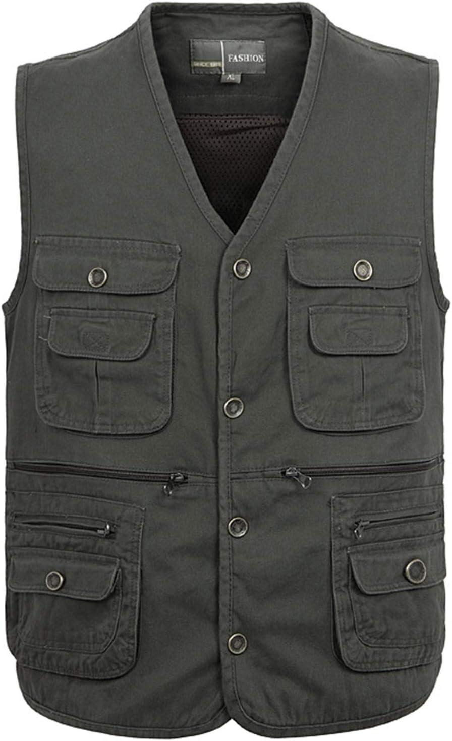 CNBPLS Classic Men Vest Cotton,Button Multi Pocket Sleeveless Jacket,Solid Big Size Travel Waistcoat,Dark Army Green,2XL