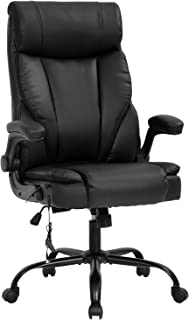 Massage Office Chair Ergonomic Desk Chair PU Leather Computer Chair with Lumbar Support Flip up Armrest Task Chair Rolling...