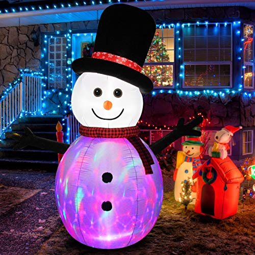 Fashionlite 8ft Christmas Inflatable Snowman with Rotating Multicolor Changing LED Lights Yard Decorations, Blow Up Inflatables for Xmas Indoor Outdoor Home Garden Family Prop Lawn Decoration