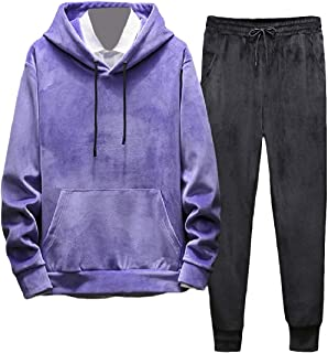 MogogoMen Hooded 2-Piece Set Activewear Plus Velvet Solid Sweatshirt+Pants Sets