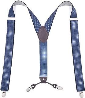 Leather Trousers Strap Men's Adult 6 Clips Suspenders 3.5CM (Color : Blue)