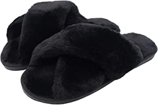 AONEGOLD Ciabatte da Casa Donna Invernali Warmer Peluche Pantofole Croce Morbido Open Toe Pantofole di Pelliccia Antiscivo...