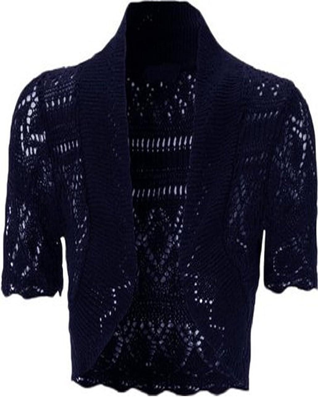 Womens Knitted Bolero Shrug Short Sleeve Crochet Shrug (XL, Navy)