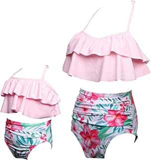 Loalirando Costume da Bagno Madre e Figlia Famiglia Bikini a Righe Brasiliano Un Pezzo Spiaggia Elegante Senza Spalline Rosso Bianco Push Up