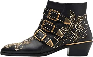 Themost Womens Genunie Leather Rivet Studded Buckle Strap Designer Short Biker Boots Low Heel
