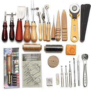 Kit de Gravure sur Cuir Ensemble D'outils en Cuir Ensemble Fait à La Main en Cuir Bricolage Ensemble De 37 Pièces Ensemble...