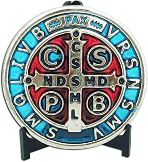 """3"""" Silver Tone with Blue and RED Enamel Saint St Benedict Cross Jubilee Medallion/Medalla San Benito 3"""" Medalla Jubilar"""