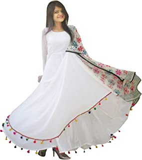 Rajkumari Women's Georgette Anarkali Dress (Rajkumari_203_M _White_ Medium)