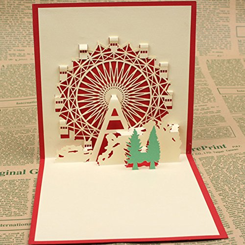 Infgreate -Valentine's Day Present3D Ferris Wheel Pattern Pop Up Birthday Festivals Hand-fold Greeting Card Gift - Red