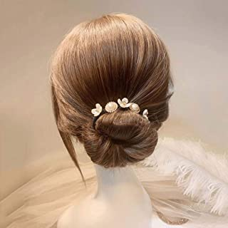 Korean Shell Flower Pearl Hair Bun Maker Simple Hair Styling Tool Hair Accessories Wild Headdress Hair Curler(A)