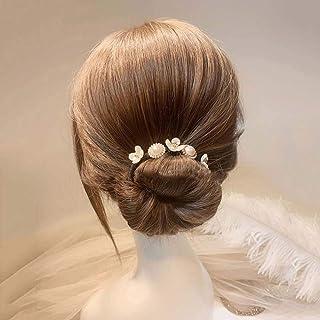 Korean Shell Flower Pearl Hair Bun Maker Simple Hair Styling Tool Hair Accessories Wild Headdress Hair Curler(A)