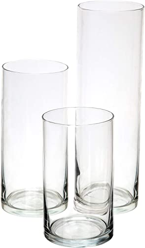 popular Glass Cylinder high quality Vases Set of 3 Decorative Centerpieces for lowest Home or Wedding by Royal Imports sale