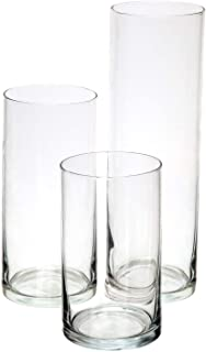 Best Royal Imports Glass Cylinder Vases Set of 3 Decorative Centerpieces for Home or Wedding Review