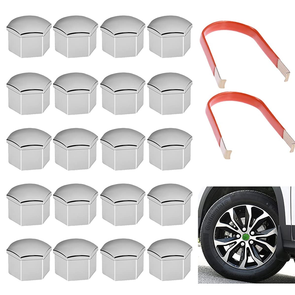17MM CHROME WHEEL LUG NUT BOLT COVER CAPS WITH + Removal Tool For VW SKODA AUDI BMW MERCEDES
