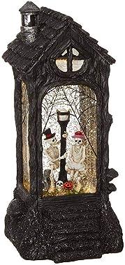 "RAZ Imports Skeleton Lighted Water Lantern 11"" Halloween Snow Globe with Swirling Glitter"