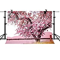 Mmeピンク桜バックドロップ7x 5ftアップグレード素材シームレスな背景ビニール写真Japanese Flowerフォトスタジオ小道具gymm253