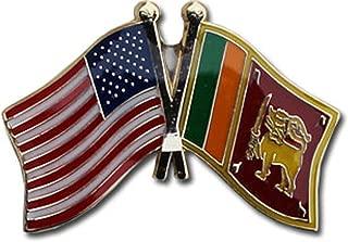 AES Wholesale Pack of 6 USA American & Sri Lanka Country Flag Bike Hat Cap lapel Pin