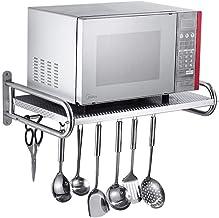 Microondas digitales horno Cocina del soporte del horno de microondas de montaje en pared estante de acero inoxidable fácil de limpiar capacidad de carga fuerte con gancho horno de microondas Manual