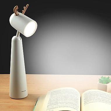 Sakruda LED Desk Lamp,Portable Eye Protection Table Light with Warm Light,Rechargeable Beside Reading Light for Study,Office,