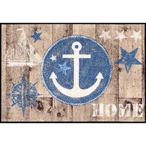 Salonloewe Fußmatte waschbar Welcome Home Anchor Wood 50x75 cm SLD1294-050x075