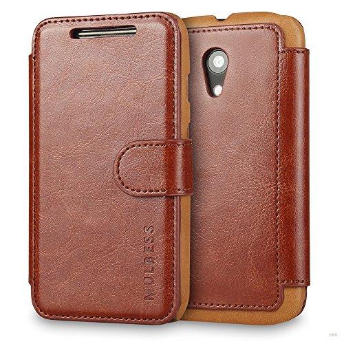 Mulbess Handyhülle für Motorola Moto G 2nd Hülle Leder, Layered Dandy Leder Flip Tasche für Motorola G 2nd SchutzHülle Leder, Coffee Braun