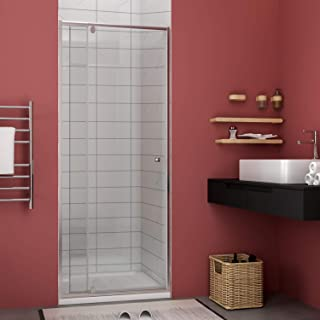 ELEGANT Semi-Frameless Hinged Glass Shower Door, 32 in. to 36 in. W X 72 in. H Pivot Swing Corner Shower Enclosure, 1/4 in. One Fixed Glass & One Pivot Glass, Polish Chrome Finish
