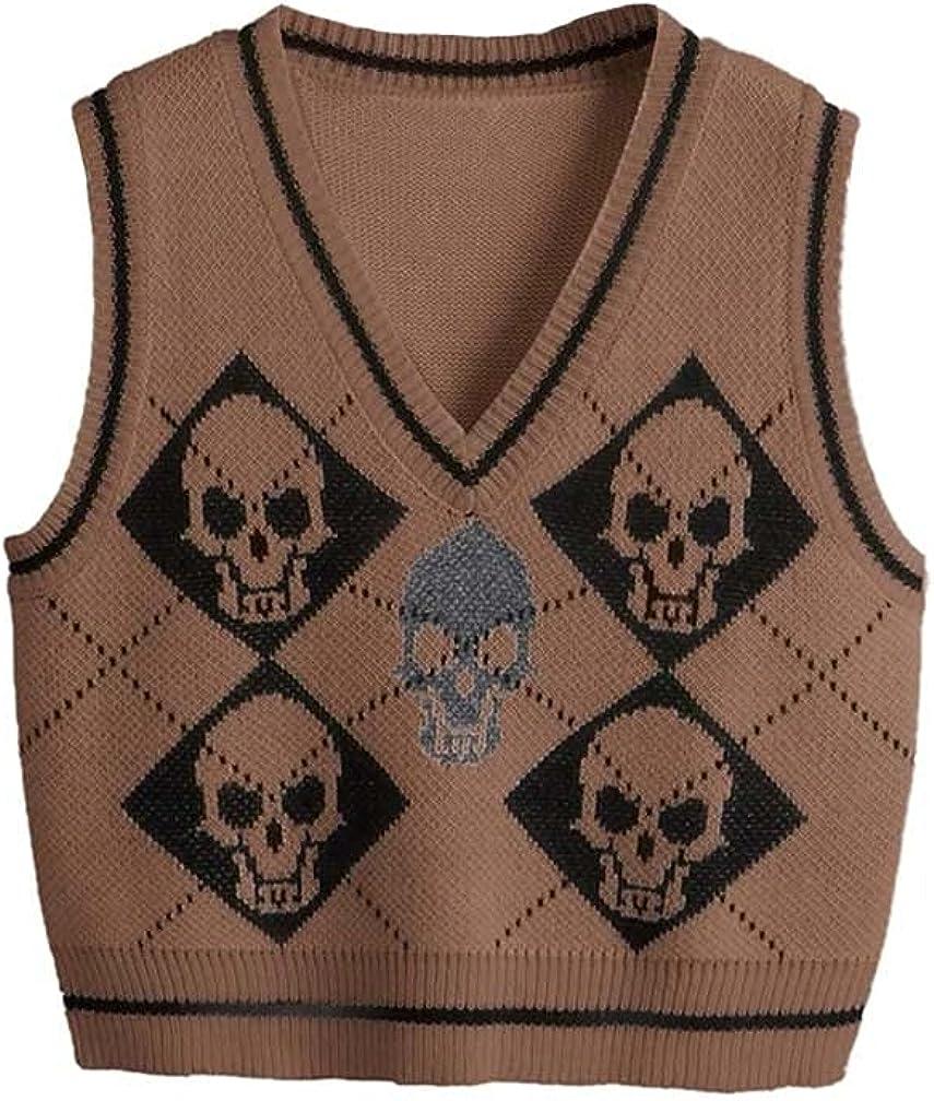 Sdencin Women V-Neck Y2K Skull Pattern Knit Sweater Vest 90s Preppy Style Sleeveless Loose Gothic Crop Tank Knit Vest