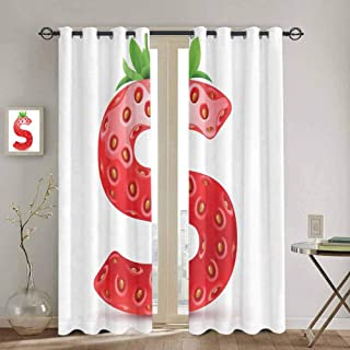 SONGDAYONE Letter S All Season Insulation Capital S Strawberry Seeds and Green Leaves Organic Plant Realistic Repeatable use W72 x L63 Inch Vermilion Green Orange