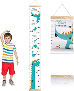 Outivity Height Chart for Kids Wall Hanging Growth Chart Removable Canvas and Wood Measuring Ruler for Baby Girls Boys Tod...