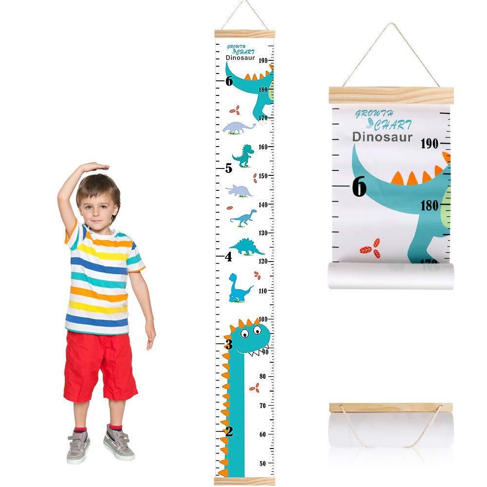 Outivity Growth Chart for Kids, Height Chart for Kids/Boys/Girls/Baby,  Canvas & Wooden, Removable Growth Height Chart, Wall Room Decor   Dinosaur