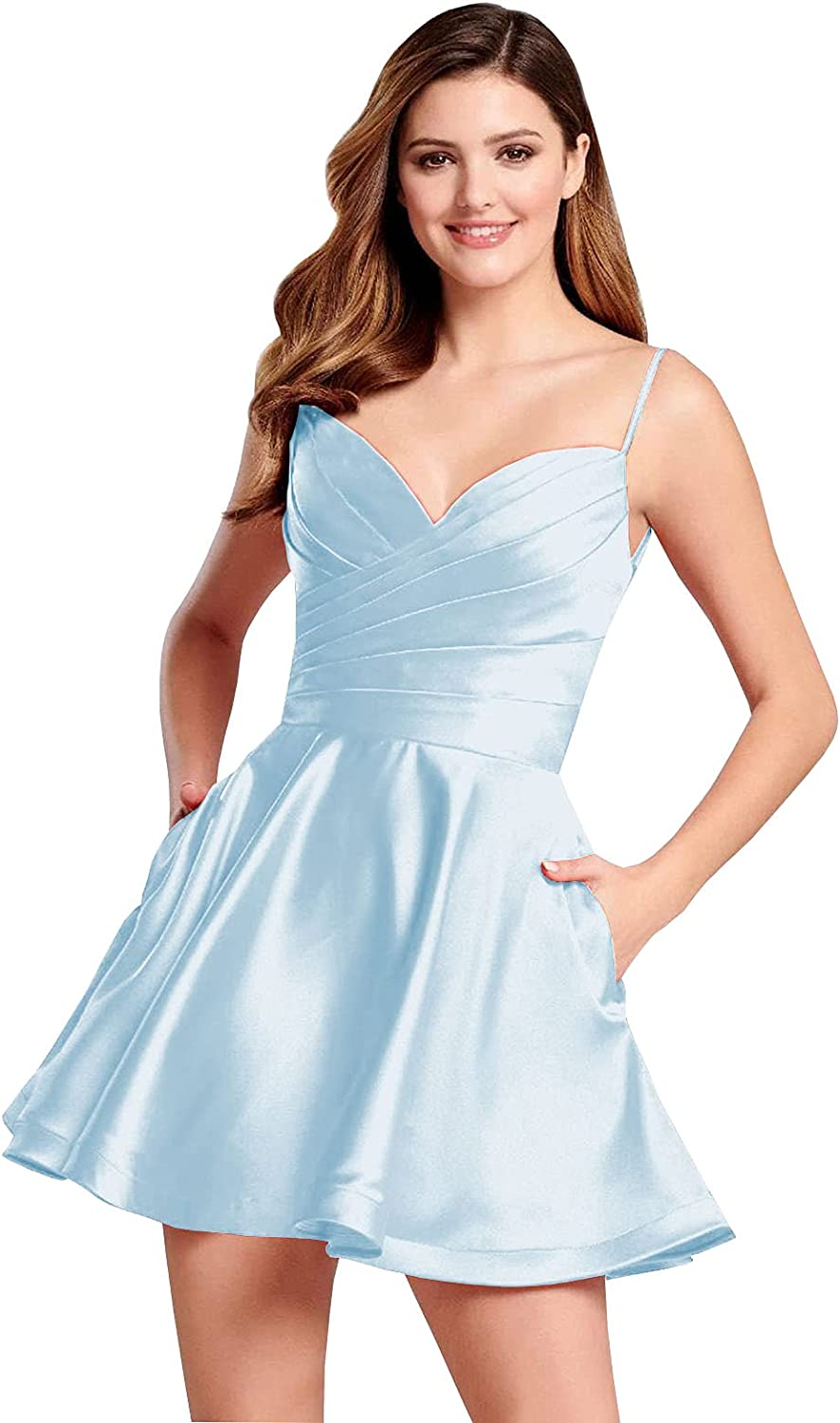 BONOYUER Spaghetti Strap Short Homecoming Dresses for Teens A Line Satin Open Back Cocktail Formal Party Gown with Pockets