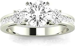 14K White Gold 2.1 CTW Round Cut Channel Set 3 Three Stone Diamond Engagement Ring, J Color I1 Clarity, 1.5 Ct Center