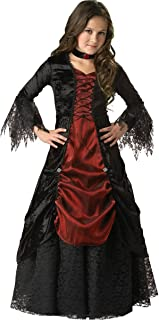 InCharacter Costumes, LLC Girls 7-16 Gothic Vampira Gown Set, Black/Burgundy, 8