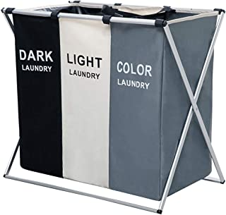 NiceVue 3 Section Laundry Basket Printed Dark Light Color, Foldable Laundry Hamper/Sorter with Waterproof Oxford Bags and Aluminum Frame, Washing Clothes Storage for Home, Dormitary…